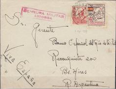 España 1937. Carta De Astorga A Buenos Aires. Censura. - Marcas De Censura Nacional