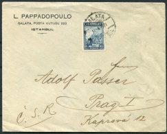 1931 Turkey Pappadopoulo, Istanbul Business Cover - Prag Prague Praha C.S.R. Chechoslovakia - 1921-... Republic
