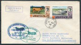 1972 Jersey Germany Spain Lufthansa First Flight Cover - Barcelona - Jersey
