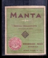 étiquette -  Années  1910/1930*  MANTA  Boisson Edulcorante Archambeau Frères - Autres