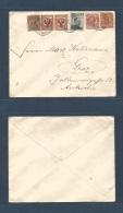 ITALIAN Levant. 1908 (16 May) Smyrne - Austria, Graz. Multifkd Diff Issues Envelope At 40c Rate.. Carta, Cover, Lette... - Emissions Générales