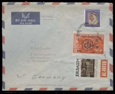 KUWAIT. C.1964. Kuwait - Germany. Air Fkd Env + 2 Alfatah Tied / Jerusalem Viguettes. Unusual. V Interesting.. Carta,... - Koweït
