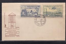 CZECHOSLOVAKIA, 1960, FDC, National Philatelic Exhibition, Aircraft, Set 2 V, Airmail, Yv PA 49/50 - Tschechoslowakei/CSSR