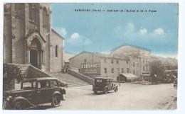 1209 - Bessègues - Quartier De L'Eglise Et De La Poste - PTT  Dubonnet Eglise Vieille Voiture - Bessèges