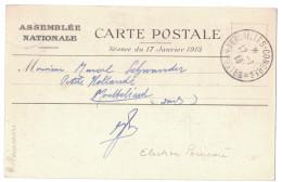 1913 - CACHET TEMPORAIRE * VERSAILLES-CONGRES * POSTES Sur CP ASSEMBLEE NATIONALE SEMEUSE 5c VERT PRESIDENT POINCARE - Marcofilie (Brieven)
