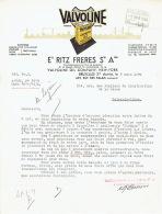 Lettre De 1939 BRUXELLES - Ets RITZ FRERES - Concessionnaire Pr La Belgique & Luxembourg De VALVOLINE OIL COMPANY - Unclassified