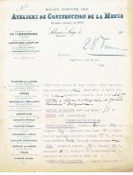 1902 ATELIERS DE CONSTRUCTION DE LA MEUSE A SCLESSIN :demande D'épreuve D'un Générateur à Vapeur D'une Locomotive - Non Classificati