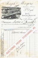 Facture Joliment Illustrée 1907 LIEGE - Joseph MEYERS 1 & 2 Quai De La Batte - Poissonnerie - Bateau-touriste - Tram - Belgique