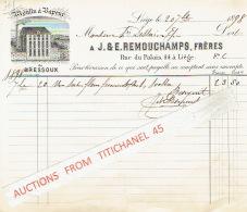 BRESSOUX 1898 Facture  Illustrée D´une Lithographie De Fromenteau- LIEGE - J. & E. REMOUCHAMPS Frères - Moulin - Belgique