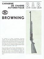 """Brochure FABRIQUE NATIONALE D'ARMES DE GUERRE HERSTAL -  Carabine De Chasse Automatique BROWNING """"B.A.R."""" - Publicités"""
