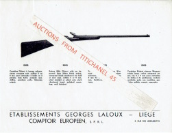 Ensemble De 14 Fiches Représentant Des Carabines & Fusils De Chasse Des Ets GEORGES LALOUX à LIEGE - Fabricant D'arm - Publicités