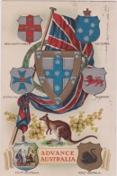 Australie :  Advance  Australia : Blason , Victoria, West, South , Wales,queensland, Kangourou - Australie