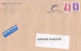 Lettre Prioritaire Voyagée De Cherbourg Pour La Suisse Le 28/05/1997 Tp Type Marianne Du Bicentenaire. Provenant De Carn - France