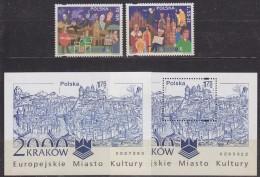 Poland 2000 Krakow European City Of Culture 2v + 2 M/s Perf +  IMPERFORATED ** Mnh (33282) - Ideas Europeas