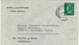 LETTRE PAR AVION POUR LES USA - Periode 1891-1948 (Wilhelmina)
