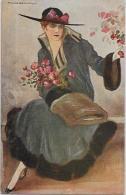 CPA Ancienne CORBELLA Dessinateur Italien Femme Woman Chapeau Italie Italia Non Circulé - Corbella, T.