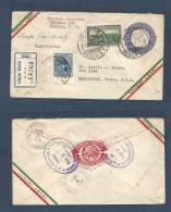 Mexico - XX. 1934 (5 Nov) DF - USA, Harlingen, Texas. Registered Air Multifkd Stat Env. Air Flown.. Carta, Cover, Let... - Mexico