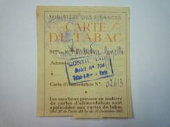 CARTE  De  TABAC  (après 1942)  (2) - Vieux Papiers