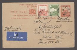 PALESTINE. 1939 (1 Aug). Jerusalem - Germany. Air High Fkd 8c Red Stat Card 11c Adtl Stamps Cds Air Label. Fine Condi... - Palestine