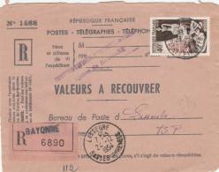 Valeur à  Recouvrer En Reco Avec 40F Perforé De Bayonne Pour Lasseube - Perforés