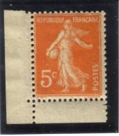 Semeuse Camée 5c Orange Coin De Carnet - Neuf Sans Charnière - 1906-38 Sower - Cameo