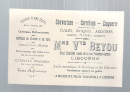 -  Carte De Visite  Couverture Carrelage Zinguerie  BEYOU - LIBOURNE - Cartes De Visite