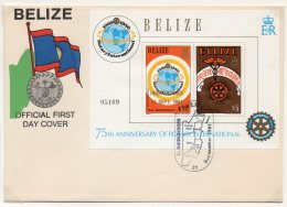 Belize 1981 Rotary Pair Of M/s With Independence Opts On 2 Fdc – Very Scarce.  Map Postmark.