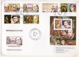 Chad / Tchad 1983 Rotary, Nobel, Raphael, Rembrandt, Goethe, Rubens, Art, Medicine On 2 Fdc