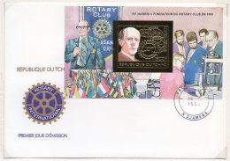 Chad / Tchad 1983 Paul Harris Rotary International 1983 Gold M/s IMPERF (Mi. Block 212B) On Fdc - Rotary, Lions Club