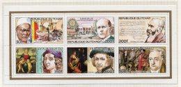 Chad / Tchad 1983 Rotary, Nobel, Raphael, Rembrandt, Goethe, Rubens – Perf Sheetlet/6 MNH