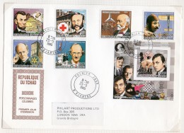 Chad/Tchad 1985 Lincoln, Dunant, Daimler, Bleriot Aircraft, Paul Harris Rotary, Piccard Submarine, Karpov Chess Fdc