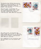 Guyana 1985 Rotary Surchs. On Butterflies And Human Rights On Cover – One With ERROR – See Text