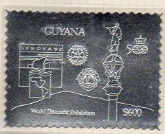 Guyana Genova 1992 $600 Perf Silver Stamp (Mi.3815BA) Columbus 500 Colon Lions Rotary MNH - Guyana (1966-...)