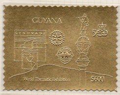 Guyana Genova 1992 $600 Perf Gold Stamp (Mi.3814BA) Columbus 500 Colon Lions Rotary MNH - Guyana (1966-...)