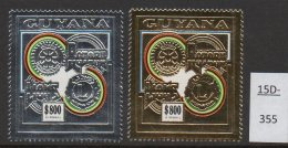 Guyana 1992 Rotary Lions $800 Silver And Gold Perf Stamps MNH (2)  Mi.3990A/3989A