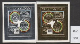 Guyana 1992 Rotary Lions $800 Silver And Gold IMPERF Stamps MNH (2)  Mi.3990B/3989B