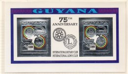 Guyana 1992 Rotary Lions 2x$800 M/s In Silver Imperf. MNH