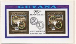 Guyana 1992 Rotary Lions 2x$800 M/s In Gold Imperf. MNH
