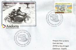 ANDORRE. Moto Side-car De La Gendarmerie En 1940, Une Lettre FDC Adressée  Espagne - Polizia – Gendarmeria