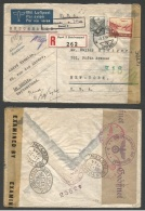 Switzerland - XX. 1944 (20 Oct) Le Locle - USA, NYC (18 Nov) Air Reguled Multifkd Envelope + Tax Mark Basel. Claim Fo... - Ohne Zuordnung