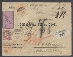 SWITZERLAND. 1878 (11 Nov). Montreux - Esslingen, Wurttemberg, Germany (13 Nov). Reg Reimbourse Mint Multifkd Env 50c... - Svizzera