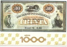 BILLET DE LA BANQUE DE BRESIL 30.000 REIS BRASIL 1976 BLOC NR. 37 - 1000 AGENCE DE LA BANQUE DU BRESIL 80 C POLYCHROME - Brazil