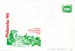 """(BT1) DDR Privatganzs.-Umschlag  PU 017 D2/001-d Wz 50(Pf) """"PHILATELIA ´90 - Reichstagsgebäude"""", Ungebraucht - [6] Democratic Republic"""