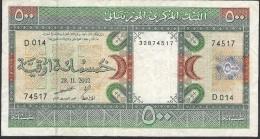 MAURITANIA  P8c 500 OUGUIYA    2002    AVF  FOLDS NO P.h. ! - Mauritanie
