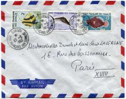 COTE FRANCAISE DES SOMALIS LETTRE PAR AVION DEPART DJIBOUTI 27-5-1960 POUR LA FRANCE - Lettres & Documents