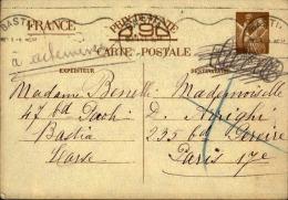 FRANCE - Entier Postal Type Iris De Bastia Pour Paris En 1941 - A Voir - L 5162 - Entiers Postaux