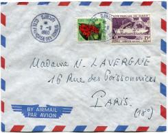 COTE FRANCAISE DES SOMALIS LETTRE PAR AVION DEPART DJIBOUTI 2-9-1960 POUR LA FRANCE - Côte Française Des Somalis (1894-1967)