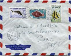 COTE FRANCAISE DES SOMALIS LETTRE PAR AVION DEPART DJIBOUTI 25-7-1960 POUR LA FRANCE - Lettres & Documents