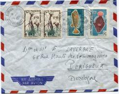 COTE FRANCAISE DES SOMALIS LETTRE PAR AVION DEPART DJIBOUTI 5-9-1961 POUR LA FRANCE - Lettres & Documents
