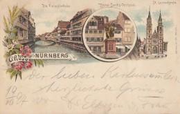 AK Gruss Aus Nürnberg Fleischbrücke,Hans-Sachs Denkmal,St. Lorenzkirche Color Gel. 19.10.97 - Nürnberg